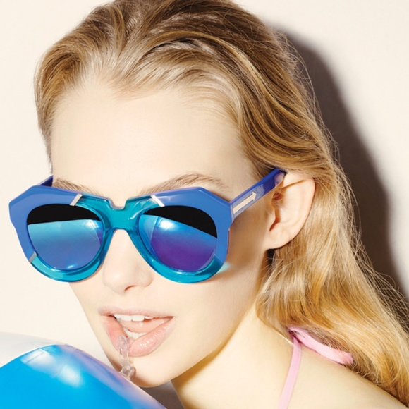 eb54c9f8ab2ea NWT Karen Walker Blue Mirrored Poolside Sunglasses